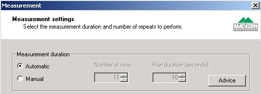 Automatic Measurement Duration can be selected in the Measurement Settings window when setting up a Manual Measurement or creating an SOP.