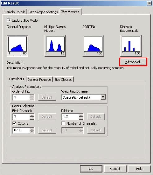 The Advanced button can be clicked on the Size Analysis tab in the Edit Result window to give access to the Advanced Analysis Settings window (Figure 14).