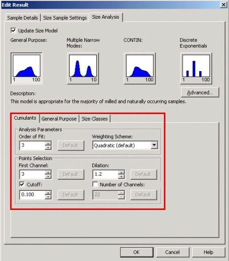 The Advanced Cumulants Settings can be edited by clicking on Update Size Model on the Size Analysis tab in the Edit Result window.