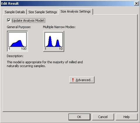 Selecting the Update Analysis Model on the Size Analysis Settings tab allows the Advanced button to be accessed Clicking on the Advanced button gives access to the Advanced Analysis Settings (Figure 6). This allows the Display Size Limits to be modified to appropriate values. Note that the default values for the lower and upper display limits are 0.6 and 6000 nm, respectively.