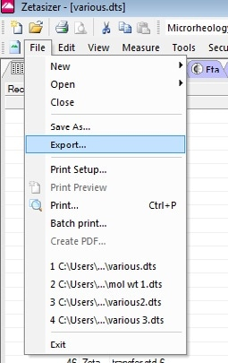 Data Export from the file menu