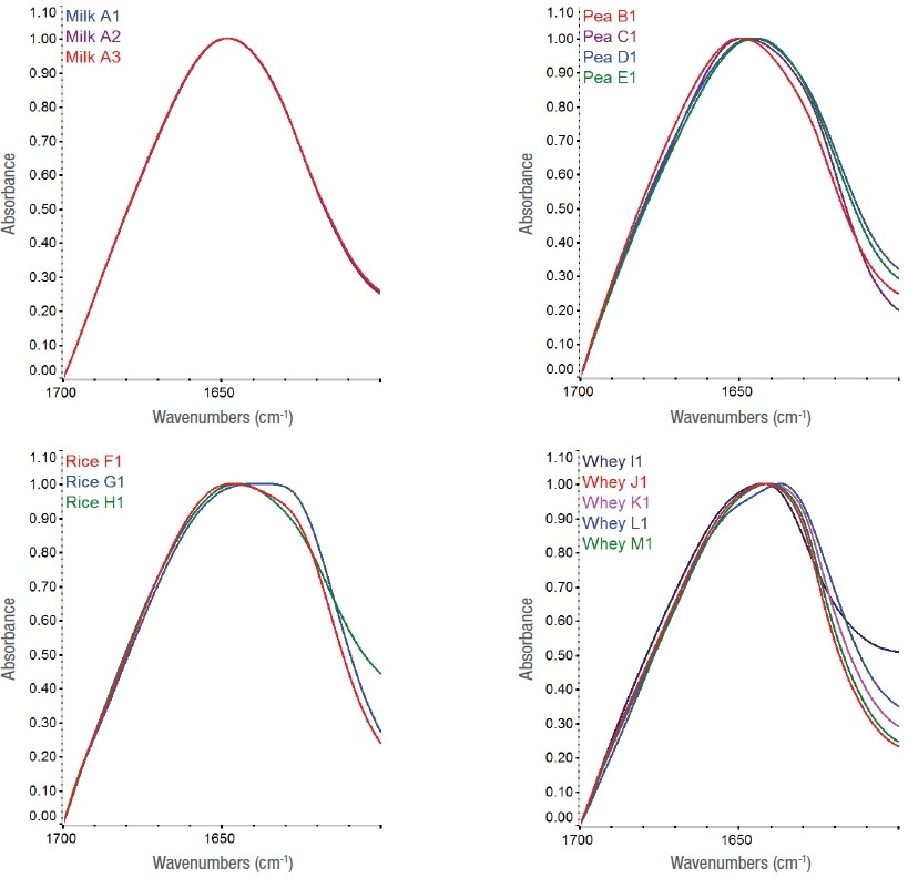 Full-scale, ATR-corrected spectra of protein powders in the amide I spectral region (1700–1600 cm-1) showing each protein type with a spectrum from each vendor source. Since only one milk powder vendor sample was available, this plot includes three different lots.