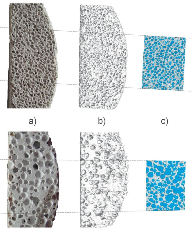 Porous concrete. Top row with small pores, bottom row with large pores. a) picture of the concrete slab, b) 3D view using Isosurface render, c) cross section of the sample showing in more detail the pores (blue) and the concrete framework related to the selected area where the pores are determined in.