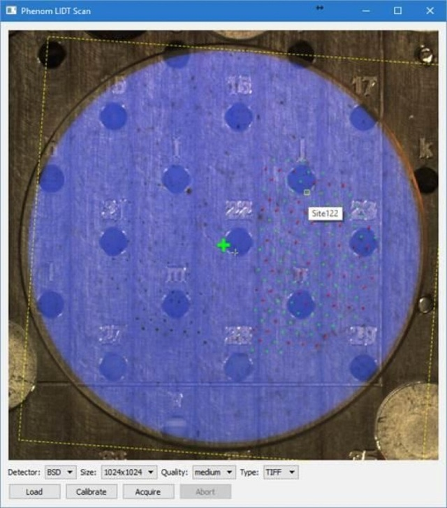 User interface of the LIDT scan script: the small red and green dots represent points where the optical coating was exposed to laser light.