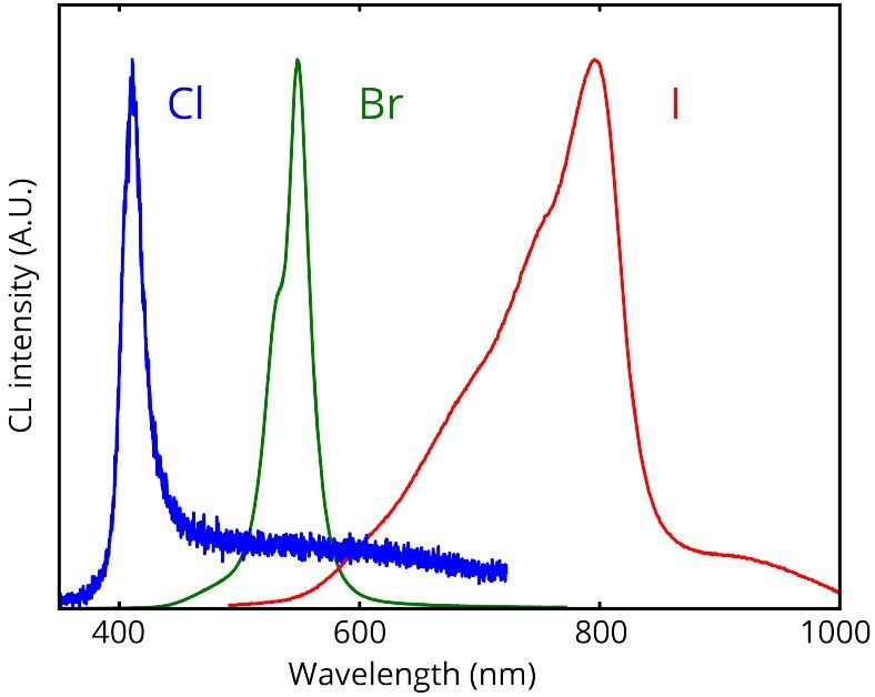 Spatially averaged CL spectra of CH3NH3PbCl3 (blue curve), CH3NH3PbBr3 (green curve), and CH3NH3PbI3 (red curve) acquired on individual microstructures. The spectra were acquired using 5 kV acceleration voltage, a beam current of 45 pA, and a dwell time of 100 ms per scanning pixel Credits: Noorduin Lab, AMOLF. See [1]