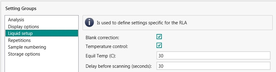 Method setting options for liquid analysis. In the settings for a method, different measurement parameters can be set. For example, the temperature of the sample vessel for liquid analysis.