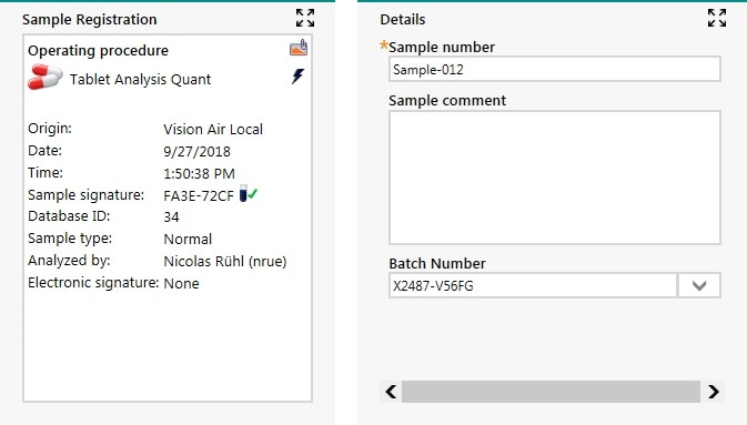 Sample registration window during routine analysis in Vision Air. Both automatically created and user-entered metadata are available for each measurement.