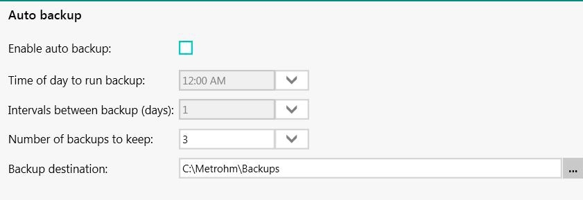 Automatic backup screen scheduler in Vision Air. Vision Air allows users to define an automatic backup procedure to ensure long-term readability.