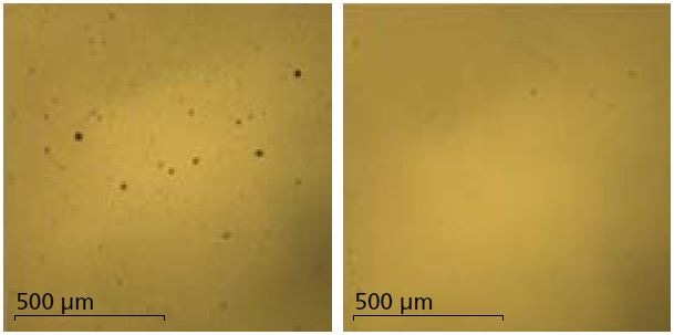 Optical microscope images of Si wafer surface pre (left) and post (right) strip coating cleaning.