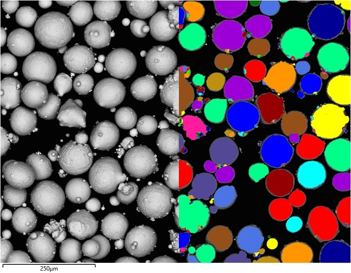 Left - Backscattered electron image of particles. Right - Grey level thresholding, colouring each particle that has been located – note that adjacent particles have clearly been separated.