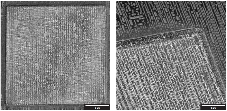 (Left) Overview of delayered area (20 × 20 µm2) down to via contact layer. (Right) Detail showing smooth polished walls.