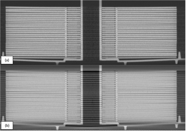 (a) vorteX scan performed on a stack of CDs. (b) Conventional cone beam scan performed on the same set of CDs. The vorteX scan provides a much crisper definition of the edges of the CDs.