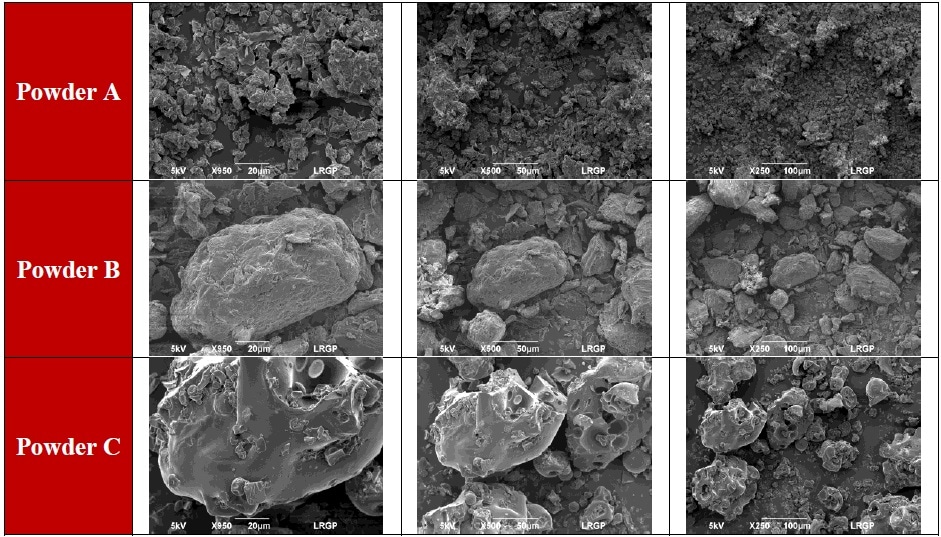 Food powders SEM pictures. For each powder, magnifications are 20 µm, 50 µm, and 100 µm (from left to right).