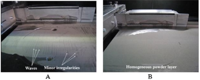 Deposition of the first powder layer on the SLM building platform of (A) NiTi-1 /TiNb-1 and (B) TNZ-1 / Ref- Ti powders.
