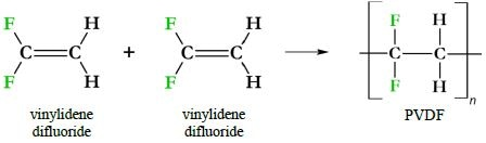 PVDF immediate precursors and synthesis. One canonical means of synthesizing PVDF is via a radical reaction joining vinylidene difluoride monomers.