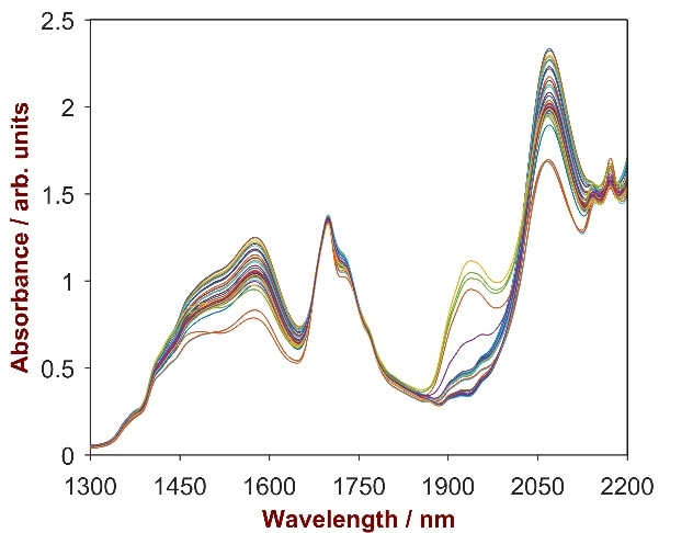 Raw data spectrum of 33 pesticide samples with Glyphosate concentrations ranging from 21.0–40.5%.