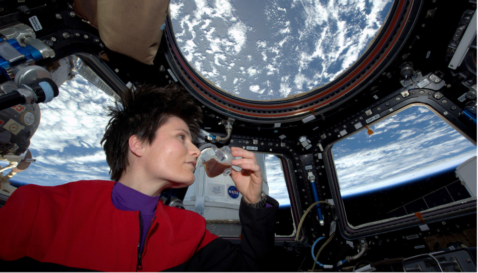 Astronaut Samantha Cristoforetti enjoying a cup of espresso on the ISS – made from recycled water of course. Photo: NASA / twitter.com/AstroSamantha.