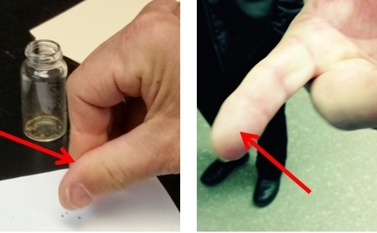 To simulate skin contact with Cannabis material as it would occur when e.g. rolling a cigarette or handling raw material, a pinch of the sample was rolled between the thumb and forefinger.