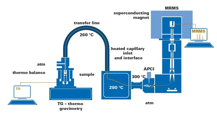Schematic representation of a TG coupled to a 7 T apex II ultra MRMS system using a GC-APCI II source