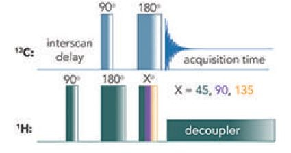 Pulse sequence of the different DEPT experiments (DEPT-45, -90, -135).[4]
