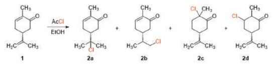 Possible products of the hydrochlorination of (R)-(-)-Carvone (1).[3]