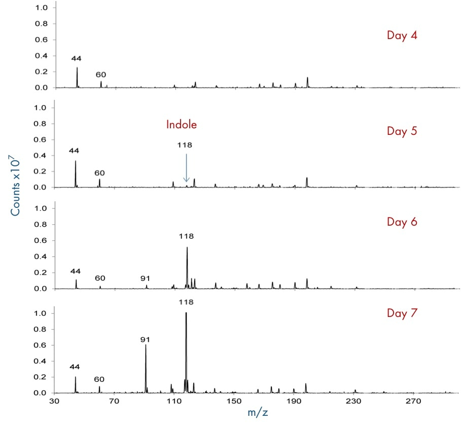 Spectra of the headspace above the meat over four additional days showing indole (m/z 118 [M+H]+) forming on Day 5.