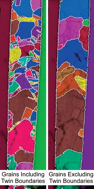 Grain maps of copper TSV with twin boundaries included and excluded from grain.