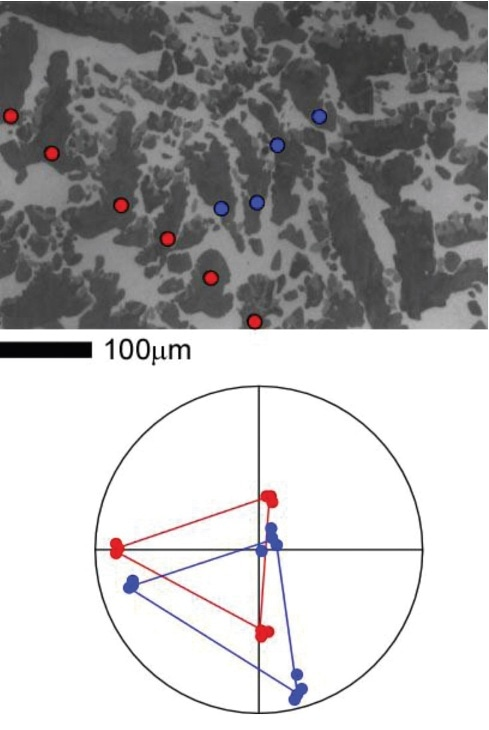 SEM micrograph of a molybdenum solidification structure (top). Corresponding (001) pole figure (bottom). (Adapted from Medevielle, Hugon, and Dugne, 1999).