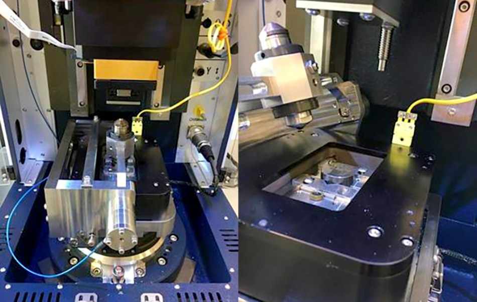 UMT TriboLab with HFRR setup. Left: Setup includes the reciprocating drive, HFRR sensor, 400 °C heater, and load sensor. Right: Pivoting allows easy setup of the samples.