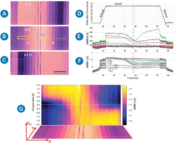 """DCUBE-sMIM study of a Si sample with n-type and p-type staircase carrier profile: (a)–(c) """"sMIM-C"""" capacitance image slices at selected sample biases; (d)–(f) 11 spectral sets of force, sMIM-R, and sMIM-C, respectively, collected at user-selected positions marked on (b); (g) slice image representing the sMIM-C signal versus sample bias and X position at a fixed Y location."""
