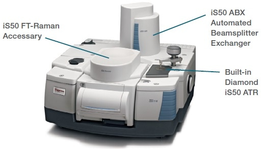 Nicolet iS50 FT-IR spectrometer with built-in diamond iS50 ATR, iS50 ABX Automated Beamsplitter exchanger, and sample compartment iS50 Raman accessory.