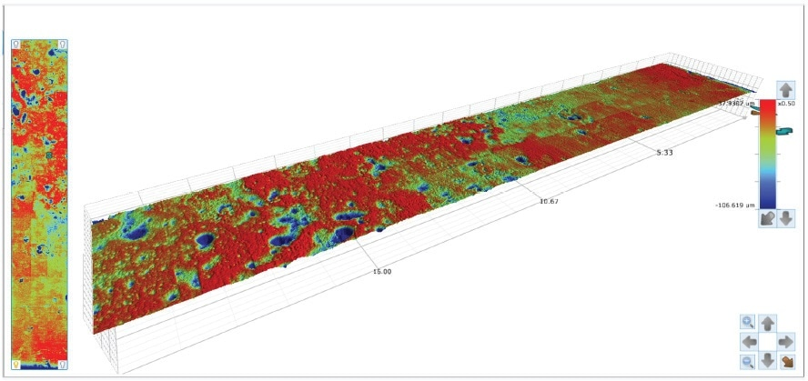 NPFLEX 3D analysis plot showing corrosion pits. Linear stitched measurement data from a small cylinder coupon was captured with NPFLEX.