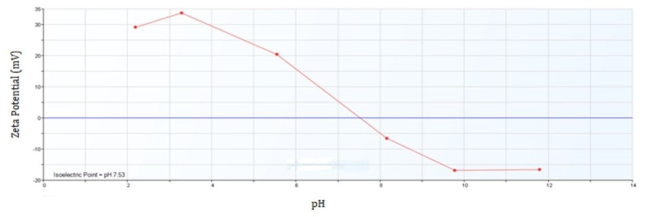 Zeta Potential of Iron Oxide from pH 2 to 12.