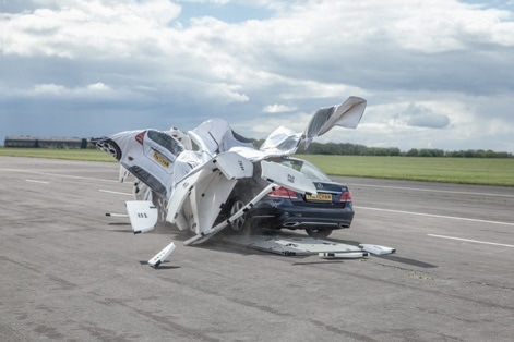When the test vehicle collides with the GST, the foamof the Soft Car 360 flies apart harmlessly, leaving the testvehicle undamaged. (Courtesy of AB Dynamics)
