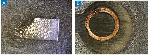 Examples of (a) ultrasonic and (B) laser beam welds before cross-sectioning and castable mounting to investigate the quality of the weld.