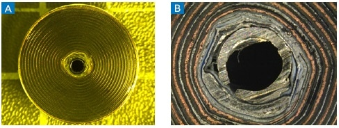 Battery cross-section showing the laminate layers consisting of both the cathode and the anode, outer casing and centre pins. (B) shows a close-up of the active cell element layers around the centre pin.