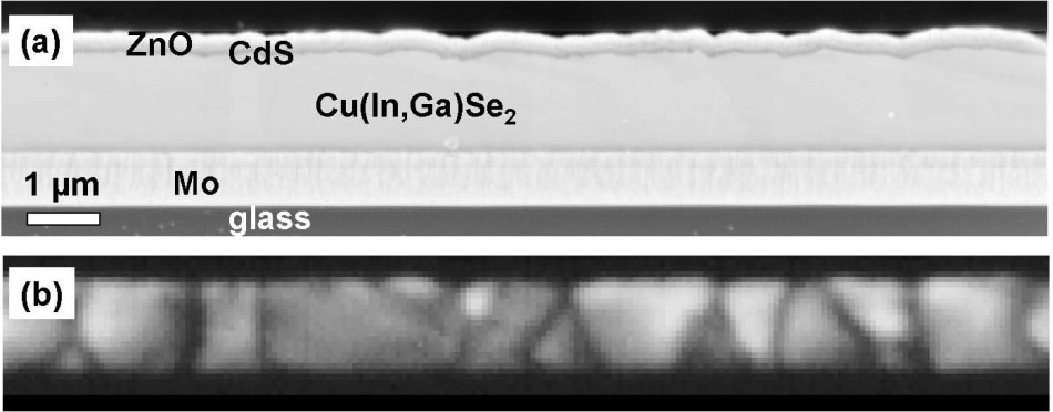 SEM (a) and panchromatic CL images (b) acquired on the same identical area on a cross-section specimen prepared from a ZnO/CdS Cu(In,Ga)Se2/Mo/glass solar-cell stack.