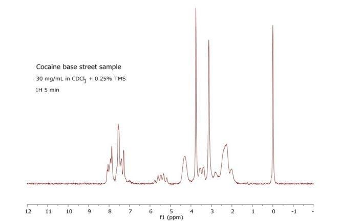 Proton spectrum of a cocaine base street sample