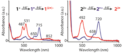 Absorption spectra of electrochemically generated singly and doubly reduced states of 1+ and 22+ recorded in dimethylformamide, measured using the AvaSpec-ULS2048-USB2-50 from Avantes. [1]