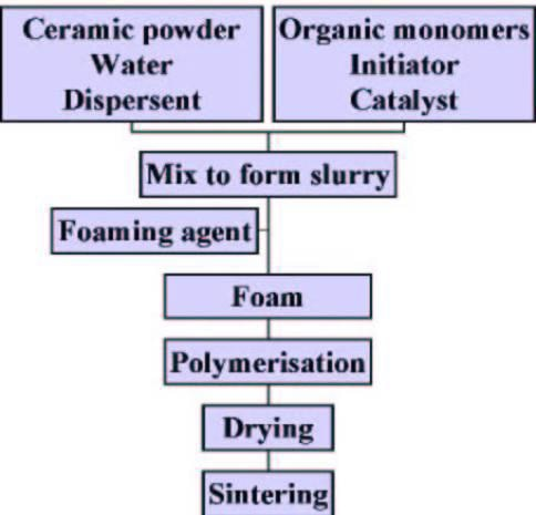 AZoM - Metals, ceramics, polymers and composites : Ceramic Foams – Processing flow chart
