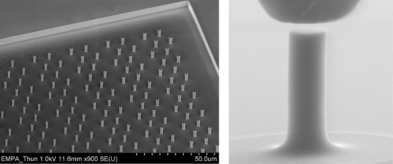 Examples of Si micropillar arrays (left) made by lithography and a single micropillar (right) just before contact with a diamond flat punch indenter.