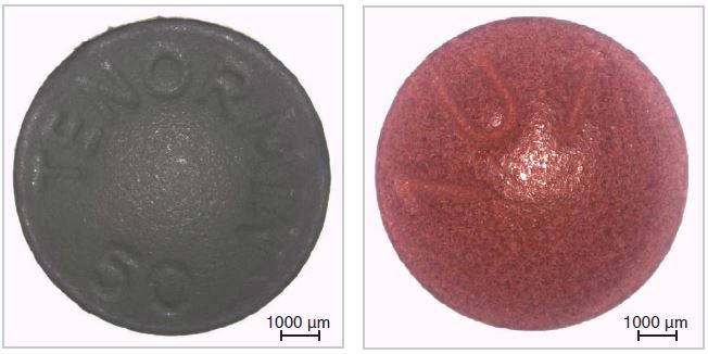 Genuine Tenormin (left) and counterfeit Tenormin (right).