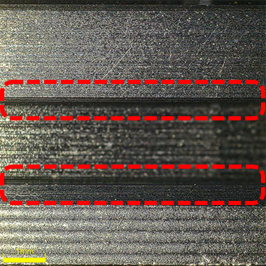 42x image acquired with the DSX1000 microscope head tilted at a 70º angle. You can clearly see the edges of the piston ring groove.