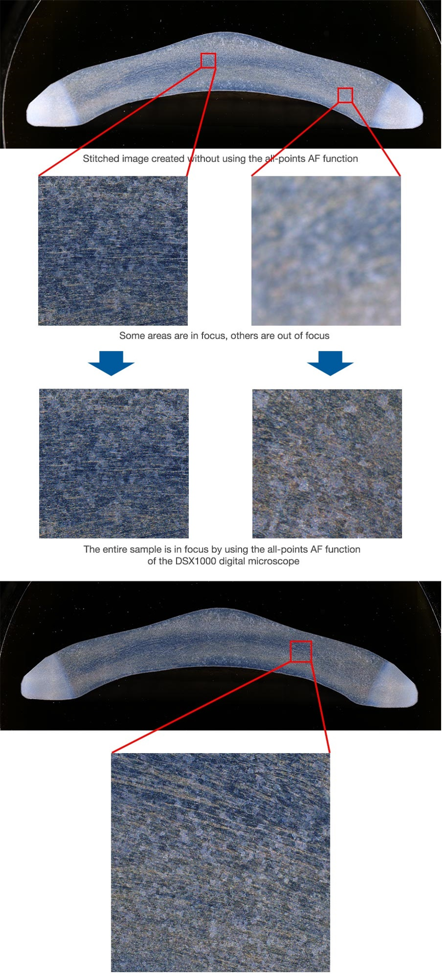 An auto-pasted image of a forged part made from several high-magnification images captured by the DSX1000 digital microscope (140X, 6 images vertically, 17 images horizontally). The image quality is maintained if you cut and magnify a part of it.