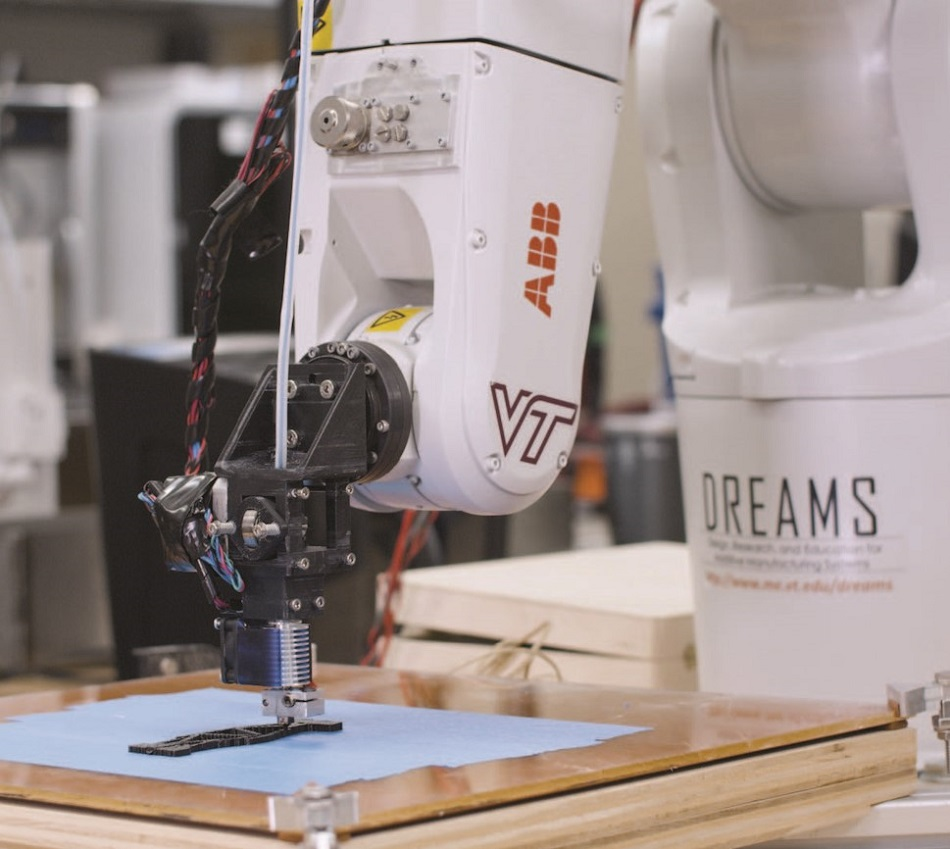 Leveraging polymer research and additive manufacturing processes to enable the production of more sustainable products using 3D printing technology at Virginia Tech University.