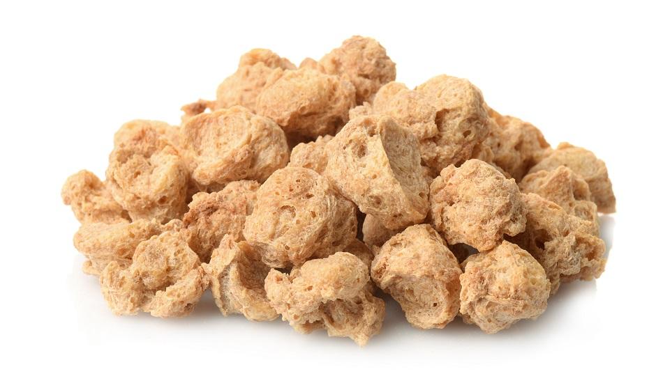 Pile of dry soya chunks