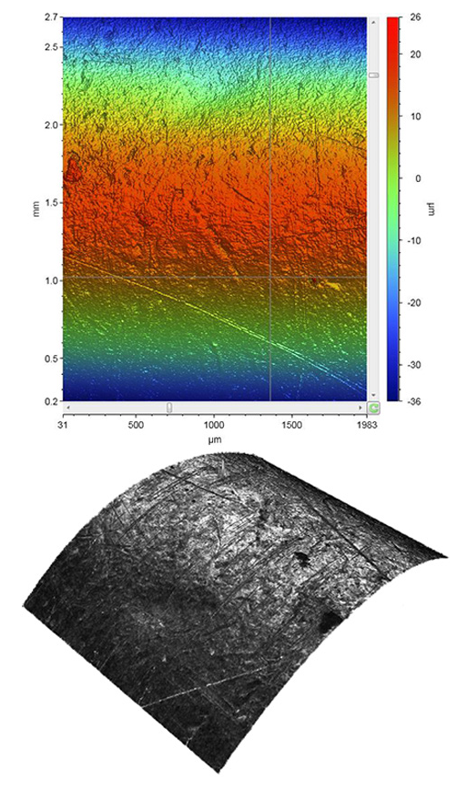 Metal cylinder color-coded height map (top) and high-fidelity, through-focus grayscale image (bottom).