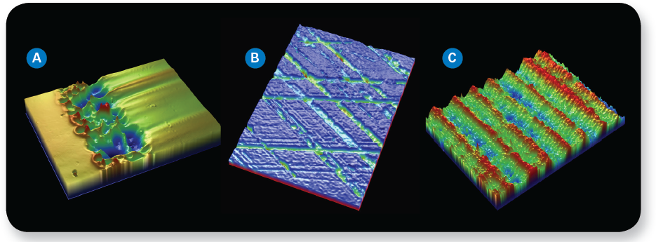 From left to right, 3D optical image revealing defect in chrome plating, 3D optical microscope image of honed cylinder wall functional surface, and 3D surface image of a brake rotor.