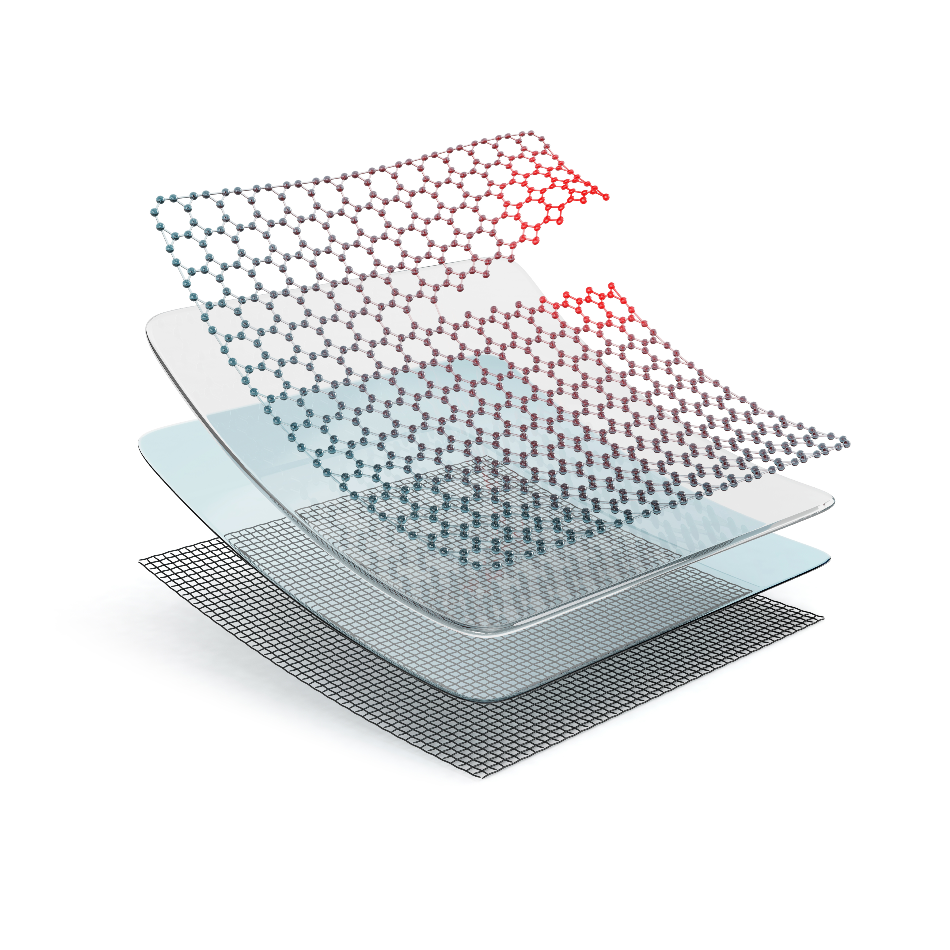 Several layers of composite self-healing material. 3D illustration isolated on white background