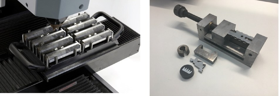 Magazine as clamping solution for same-parts-testing (left) Variations of different heattreated parts, embedded and non-embedded (right).